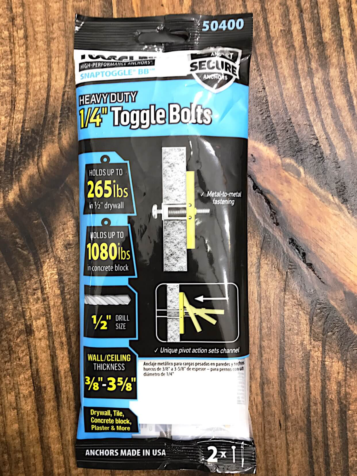 "1/4"" toggle bolts drywall anchors"