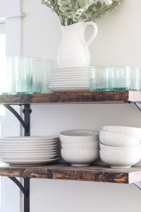 styled DIY open shelving in the kitchen