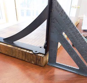 speed square to make DIY floating shelves