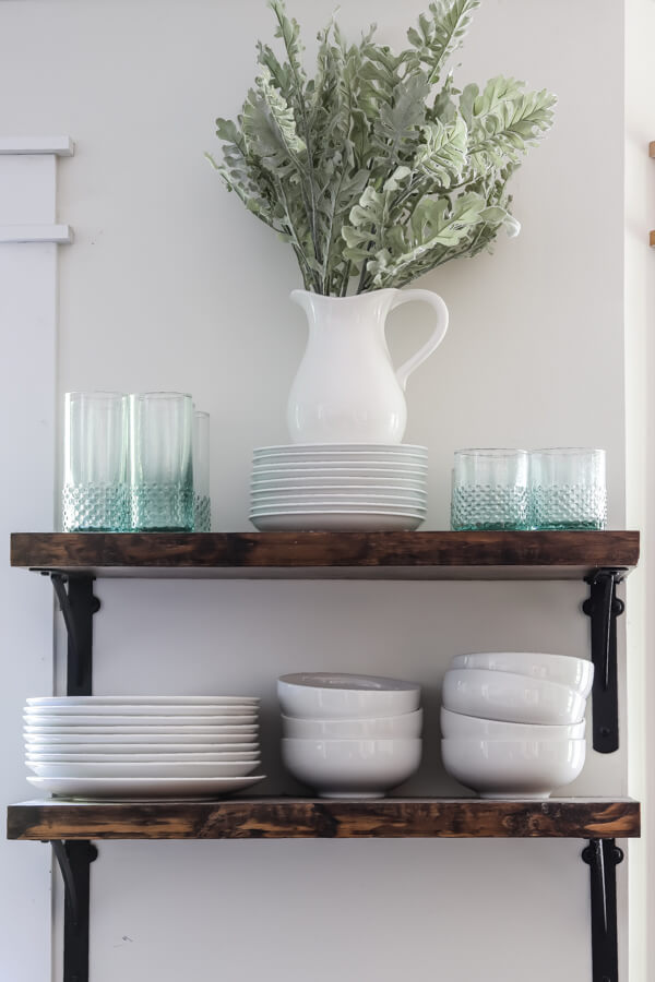 styled open shelving in the kitchen