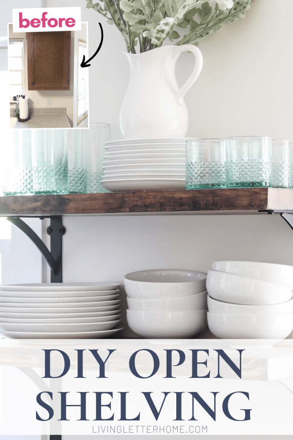 Create your own DIY open shelving in the kitchen! via Living Letter Home