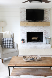 DIY faux shiplap feature wall and fireplace