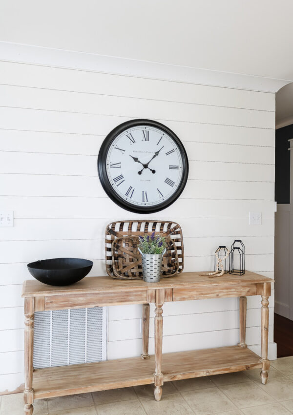 shiplap wall in kitchen