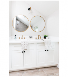 blissful designs white bathroom with wood look tile floor