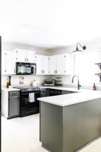 SW white upper cabinets Sherwin Williams Peppercorn lower kitchen cabinets