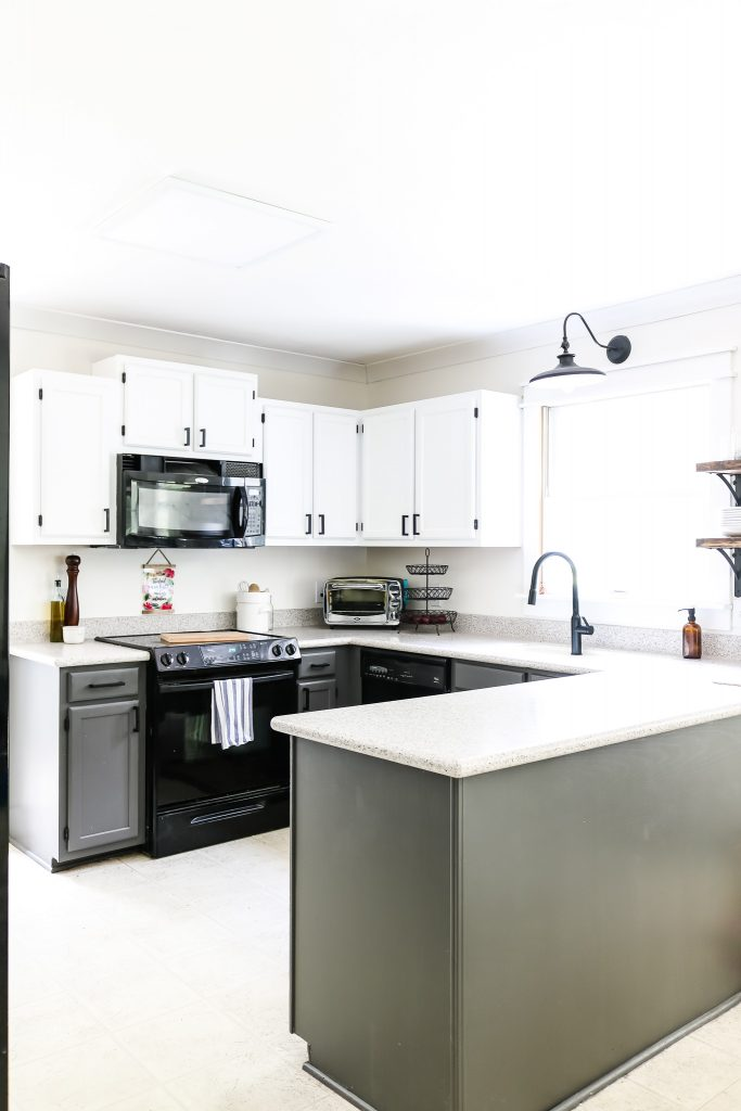 We painted our kitchen cabinets! See the before and after and find out how we really felt about the process! #sunshineshanty #grosstograndiose