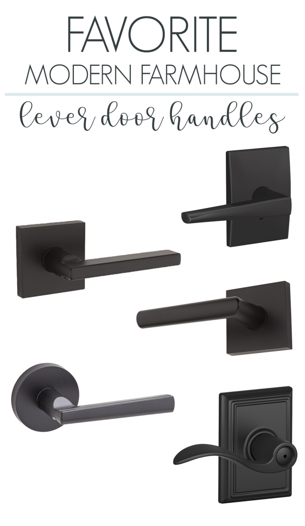 A roundup of my favorite modern farmhouse lever door handles #doorhardware #farmhousedecor #farmhousedoor