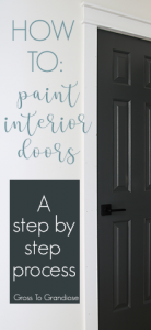 Painting your interior doors is a cheap, quick project and adds so much to the inside of your home! #grosstograndiose #sherwinwilliams #ironore #kwikset