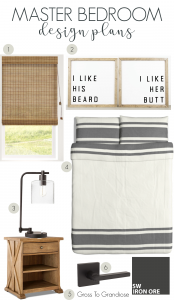 If you're looking to redesign your master bedroom soon, use this moodboard for a clean, modern farmhouse look on a budget! #grosstograndiose #masterbedroom #bedroomrefresh