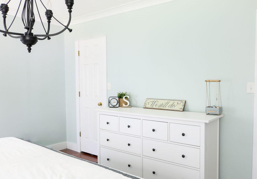 Sherwin Williams Sea Salt on the walls with white Ikea Hemnes dresser