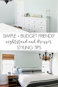 How to decorate a nightstand | For me styling a nightstand or dresser can be intimidating, but here are tips to see how easy and budget friendly a styled nightstand can be #masterbedroom #stylingtips #stylednightstand