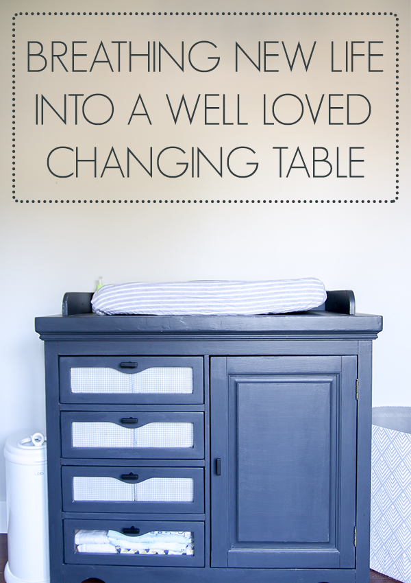 Sometimes all you need is a lot of love and a little chalk paint to make over a well loved piece of furniture. Check out this changing table makeover from Gross To Grandiose! #nursery #changingtable #rustoleum #chalkpaintmakeover
