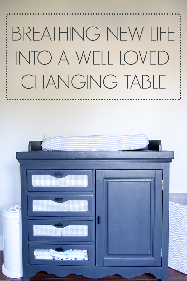 Changing table makeover using a lot of love and a little chalk paint #nursery #changingtable #rustoleum #chalkpaintmakeover