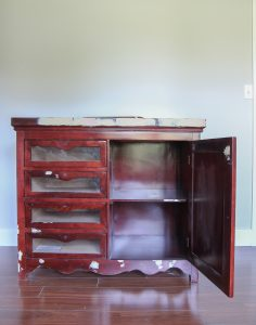 Changing table makeover with chalk paint and removable wallpaper drawer liners
