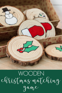 This wooden Christmas matching game is a super fun DIY project you can make and play with your little ones to help engage their brains for the Holiday season! #christmascraft #kidschristmascraft #DIYchristmasgame #christmasgame