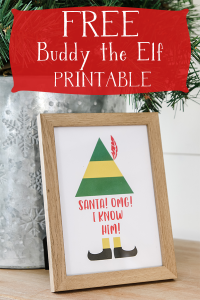 Get your own Elf printable for free to add to your whimsical Christmas home decor this year! #freeprintable