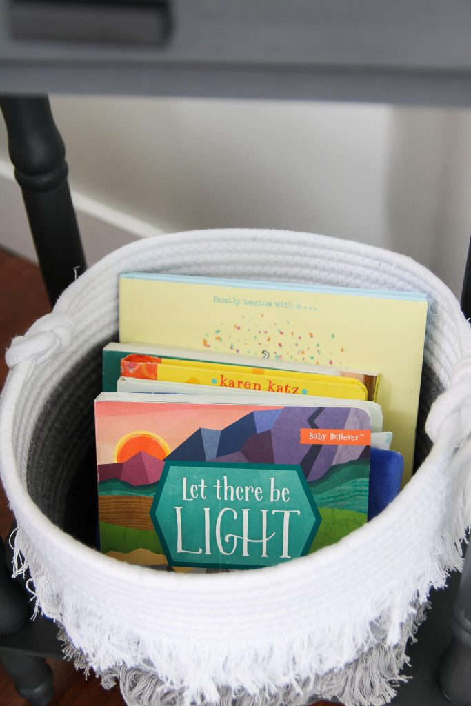 circle basket with books