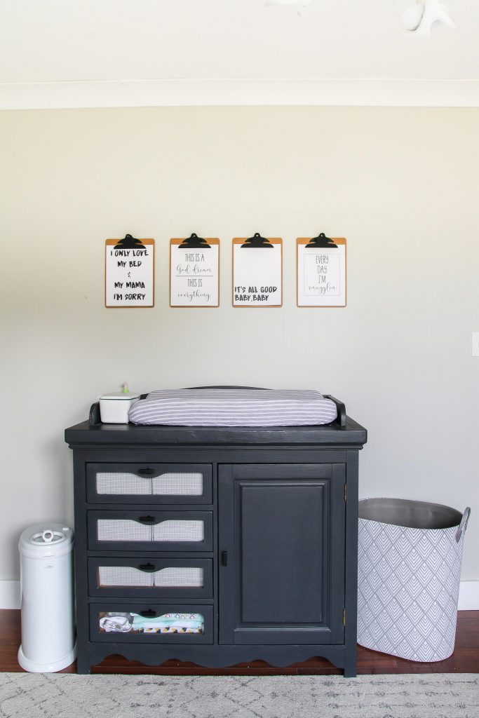 rap lyric nursery printable art with sherwin Williams agreeable gray walls