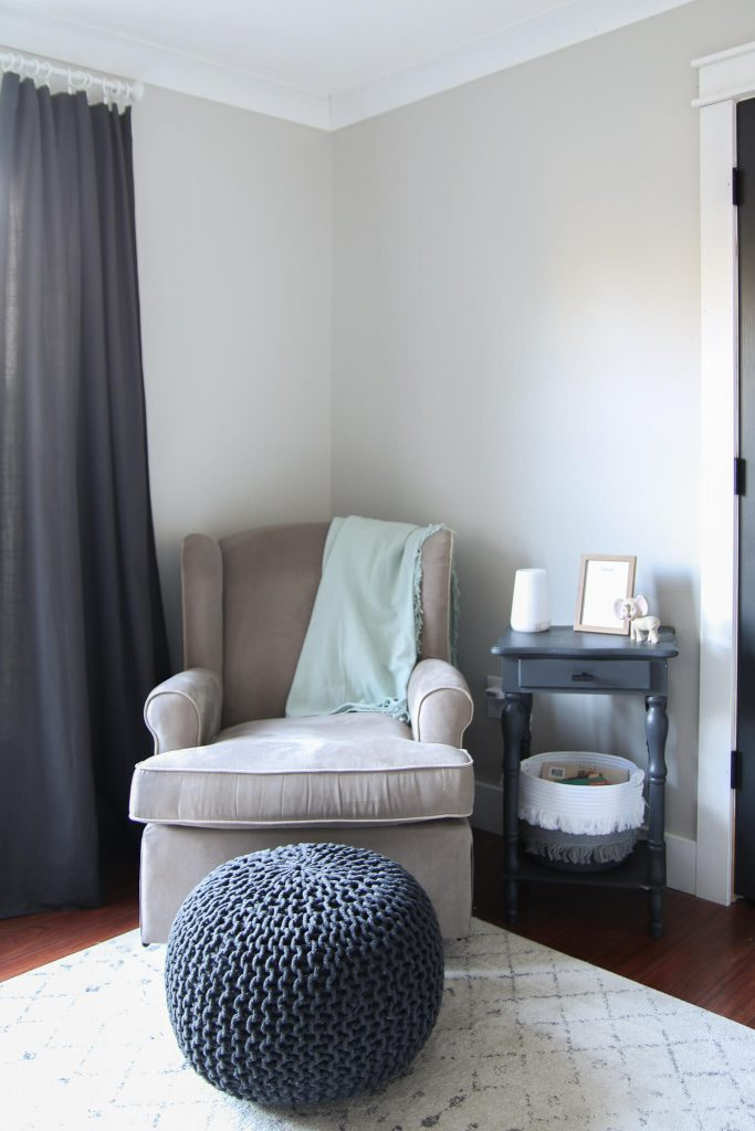nursery glider with side table