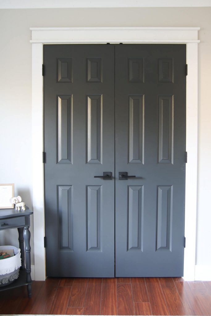 sherwin williams Iron Ore painted double doors