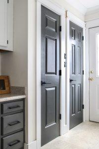 2 doors painted sherwin williams iron ore