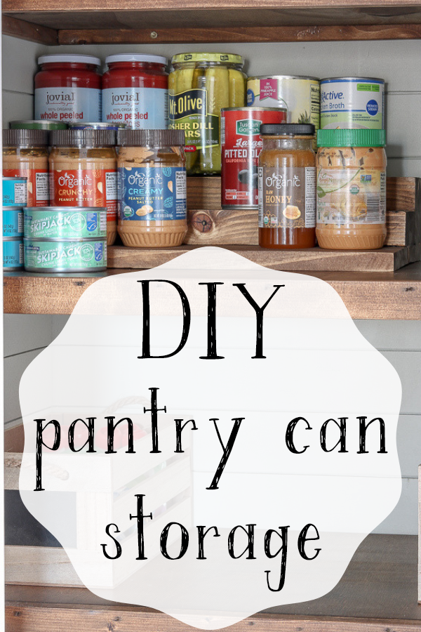 An inexpensive solution to storing cans in your pantry that's budget friendly and blends in with wooden shelving #pantrydesign #pantryorganization #pantrycanstorage #pantryrefresh #livingletterhome