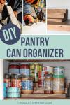 DIY pantry can organizer tutorial graphic