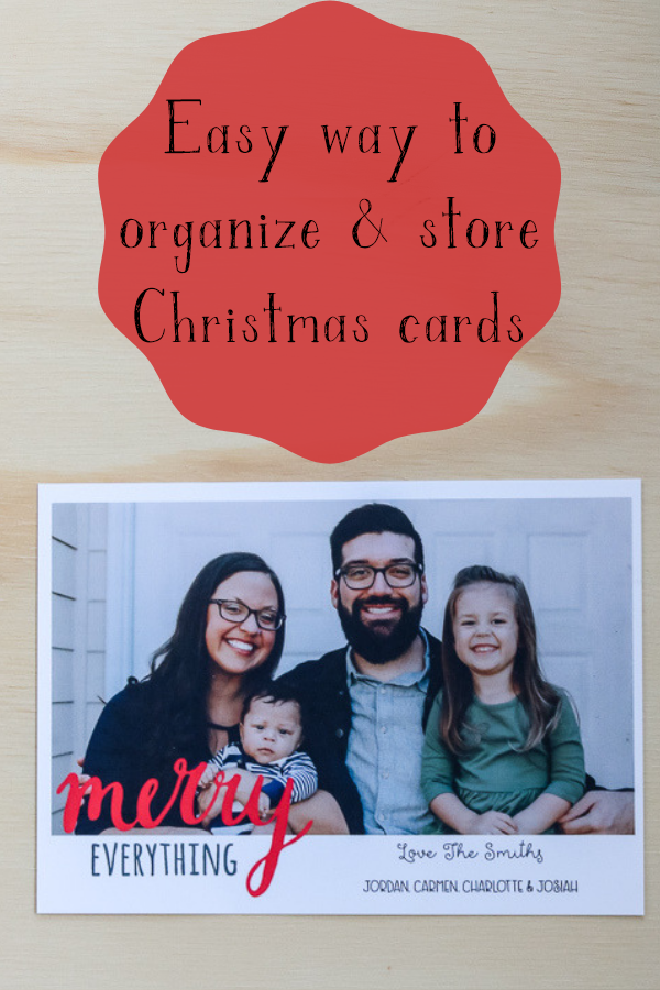 Easy way to organize your Christmas cards after the holiday season to save them for keepsakes #christmascardstorage #organizedchristmascards #livingletterhome
