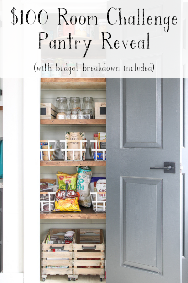 $100 Room challenge that includes a budget breakdown of how to refresh your pantry on a budget #livingletterhome #pantryrefresh #pantryorganization