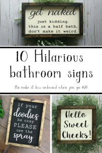 10 hilarious bathroom signs to bring in humor to your bathroom #funnybathroomsigns #livingletterhome #bathroomdecor