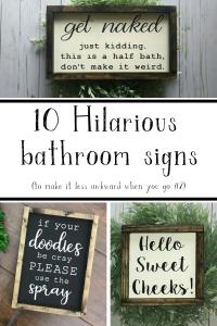 10 hilarious bathroom signs to bring in humor to your bathroom #funnybathroomsigns #livingletterhome #bathroomdecor