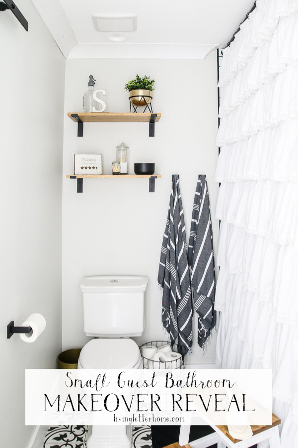 Stunning and budget friendly small guest bathroom makeover reveal | Living Letter Home #guestbathroom #beforeandafter #bathroomrenovation #budgetbathroomremodel #smallbathroom