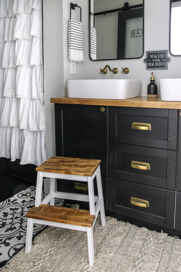 Ikea kitchen cabinets for vanity with butcher block top | Living Letter Home #guestbathroom #beforeandafter #bathroomrenovation #budgetbathroomremodel #smallbathroom