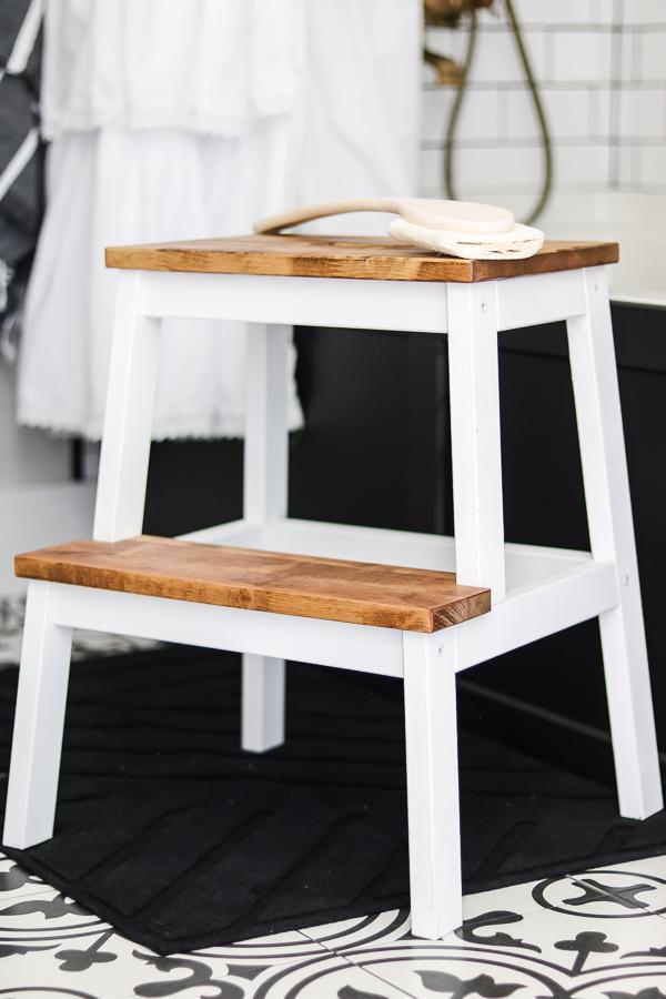 Ikea bekvam step stool  | Living Letter Home #guestbathroom #beforeandafter #bathroomrenovation #budgetbathroomremodel #smallbathroom