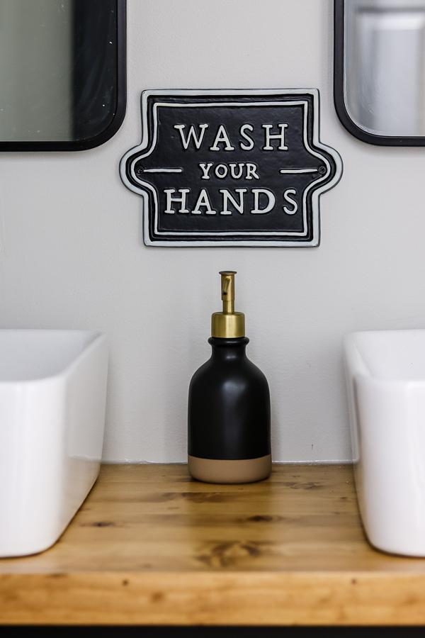 Stunning and budget friendly small guest bathroom makeover reveal | Living Letter Home #guestbathroom #beforeandafter #bathroomrenovation #budgetbathroomremodel #smallbathroom