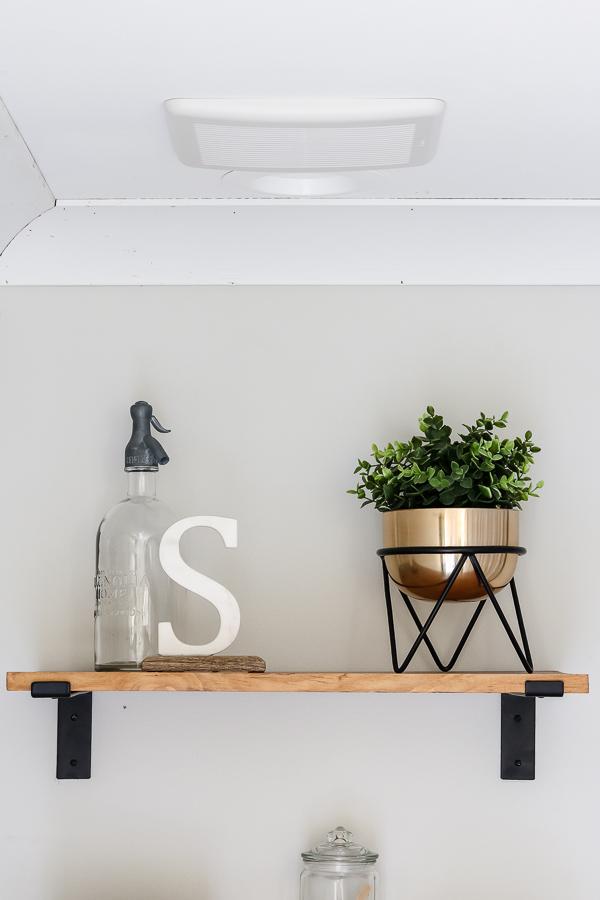 wood shelving for bathroom | Living Letter Home #guestbathroom #beforeandafter #bathroomrenovation #budgetbathroomremodel #smallbathroom