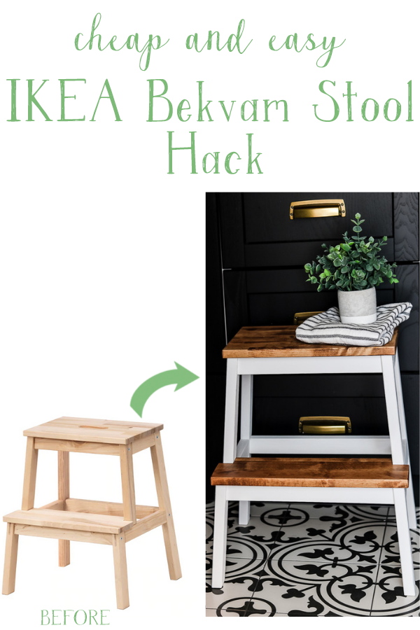 A cheap and easy Ikea step stool hack you can do in an afternoon | Living Letter Home #ikeastoolhack #ikeahack #bekvamstoolhack