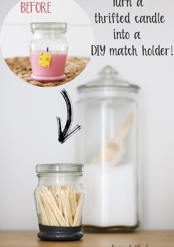 Thrifted Match Holder From Candle Jar