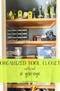 Need to organize your tools and don't have a garage? No sweat! You can do what we did and DIY your own tool closet to give you a tool storage solution #toolcloset #toolorganization #livingletterhome #toolstorage