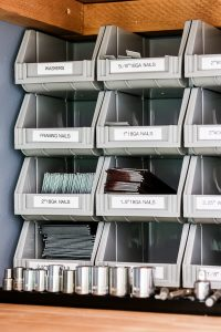 stacking bins for organizing little tools