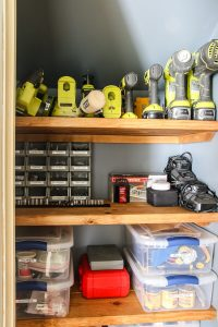 organized tools in a closet