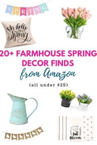 Budget friendly spring decor ideas from Amazon all under $25! #springdecorideas #farmhousespringdecor #farmhousedecor