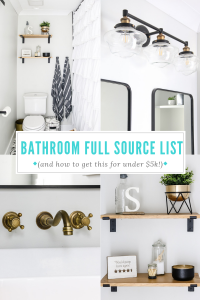 A budget friendly guest bathroom remodel cost and source list! We fully gutted this bathroom and it was under $5k! Come see how we did it and a detailed list of all our sources | Living Letter Home #bathroomremodelcost #budgetbathroom #bathroomreno #farmhousebathroom