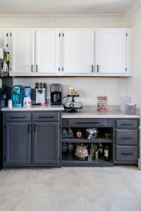 grey lower cabinets and white upper cabinets