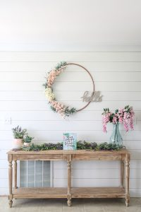 Simple and neutral spring decor shiplap wall painted Sherwin Williams Alabaster