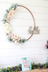 DIY hula hoop spring wreath