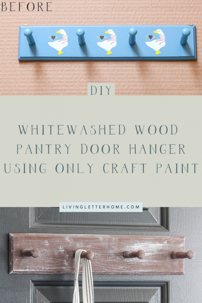 DIY whitewash wood pantry door hanger using only craft paint #drybrush #whitewashwood #thrifting