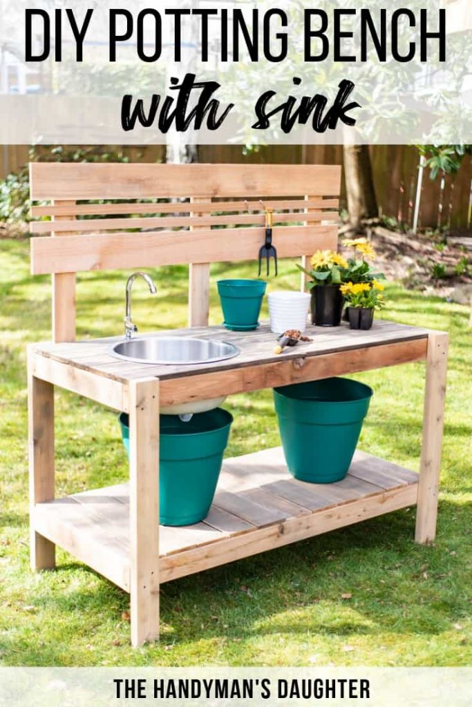 DIY Potting Bench With Sink | The Handyman's Daughter