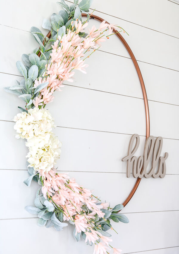 DIY $1 Spring Wreath from Hula Hoop
