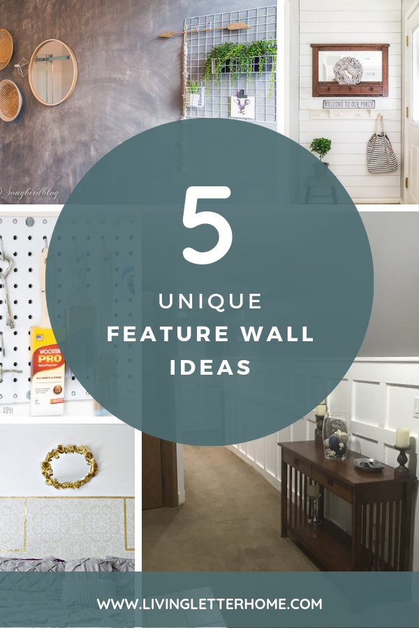 These 5 unique feature walls are a must see and can show you how to pack a big punch in a small area! From faux concrete to shiplap and lots in between! #featurewalls #fauxconcrete #shiplap #wallpaper #boardandbatten #pegboardideas